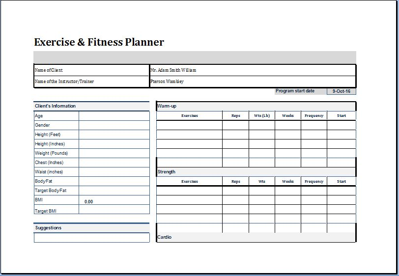 [Exercise Planner Template] Free Exercise Chart Printable Exercise Chart  Template, Free Exercise Chart Printable Exercise Chart Template, Free  Exercise ...