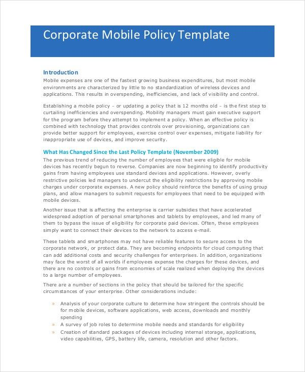 Company Policy Template - 6+ Free PDF Documents Download   Free ...
