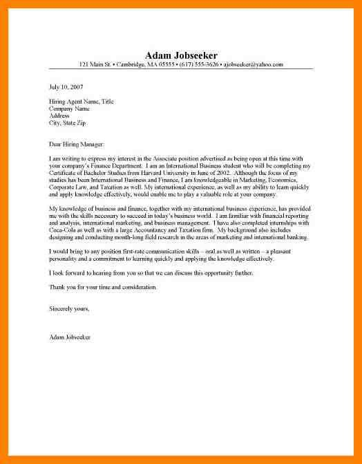 Cover letter how to internship