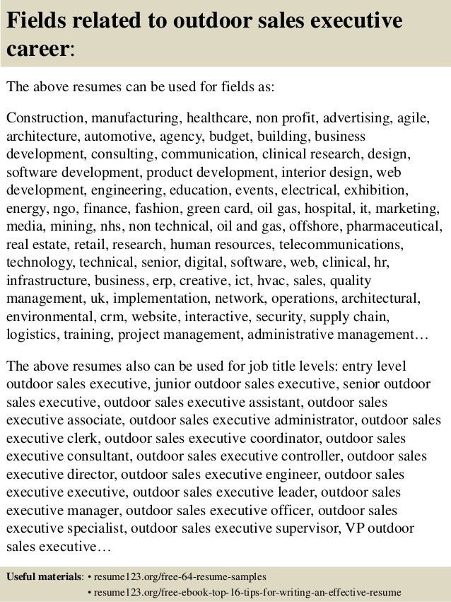 Top 8 outdoor sales executive resume samples