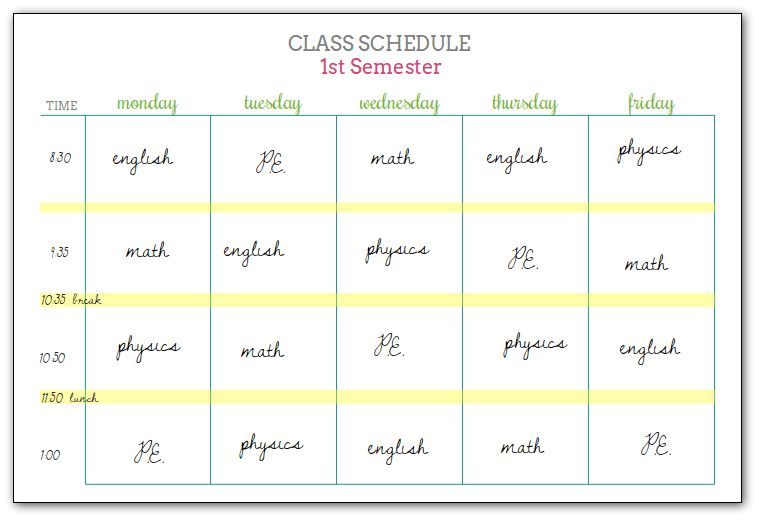Student Planners - Class Schedules and Reference Sheets