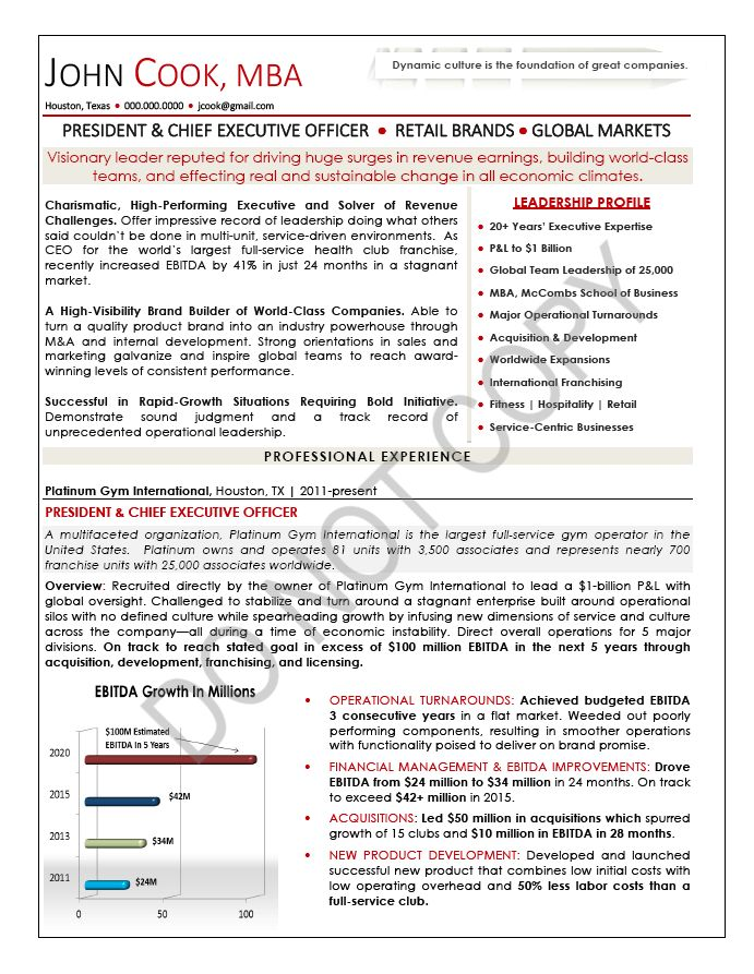 Executive Resume, CXO - TORI Award Winning Resume Sample | Mary ...