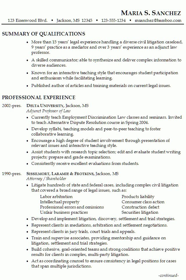 Lawyer Resume: Litigation, Mediation, Teaching - Susan Ireland Resumes
