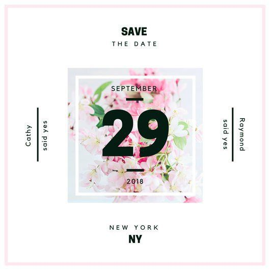 Flower Center Save the Date Invitation - Templates by Canva