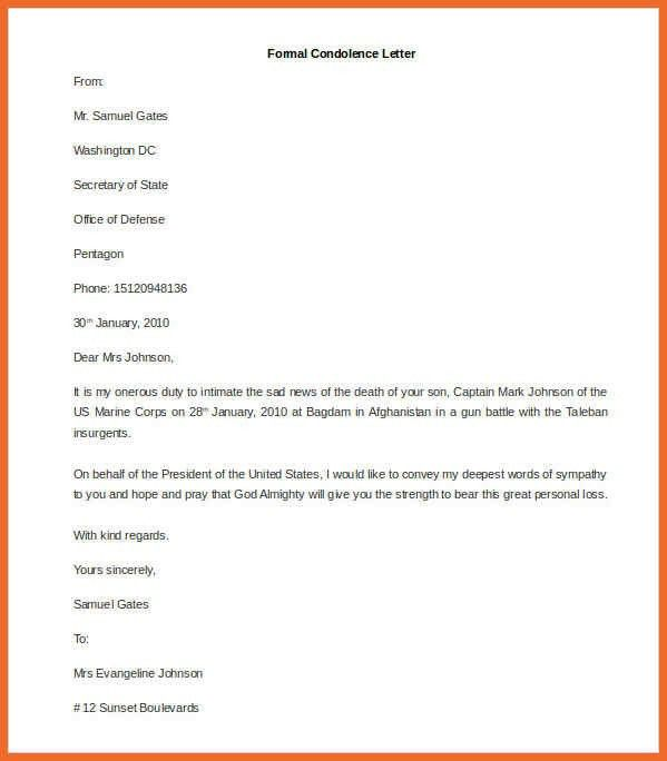 Formal Condolences Letter - cv01.billybullock.us