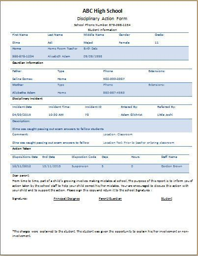 Student Disciplinary Action Form Template | Word & Excel Templates