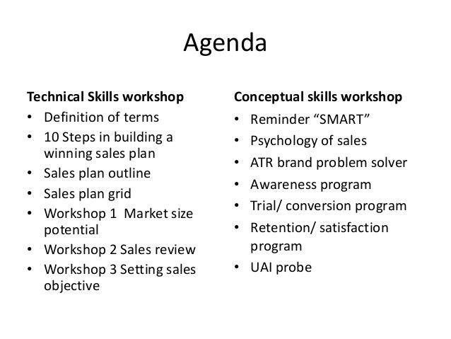 Sales planning & training seminar workshop
