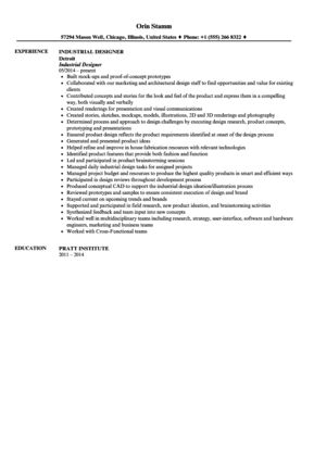 Industrial Designer Resume Sample | Velvet Jobs