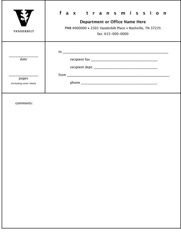 Fax Cover Sheet | Examples | Graphic Standards | Vanderbilt University