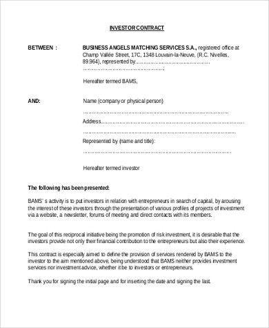Investor Contract Template Free | Jobs.billybullock.us