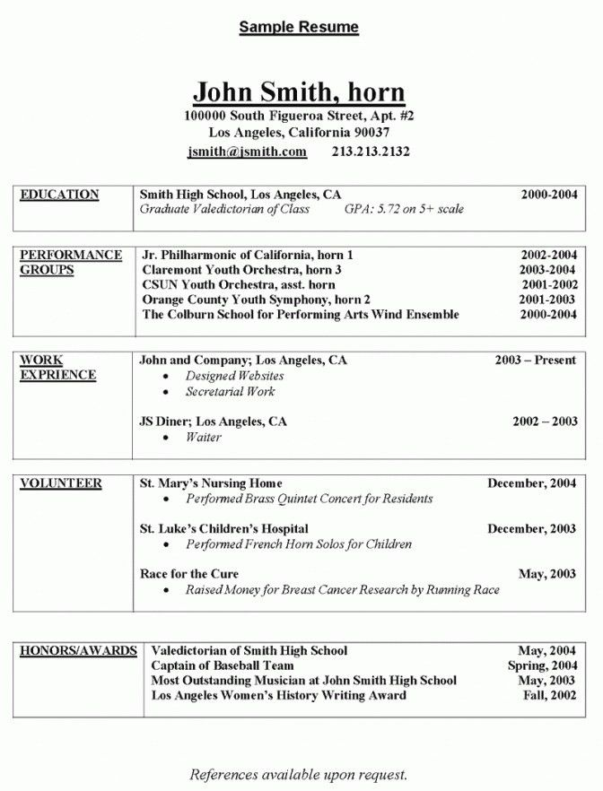 Music Resume For College - Best Resume Collection