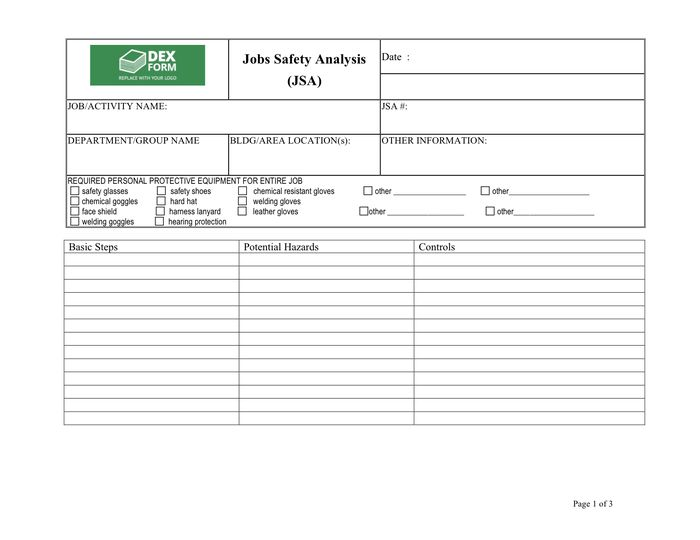 Job Safety Analysis Template - download free documents for PDF ...