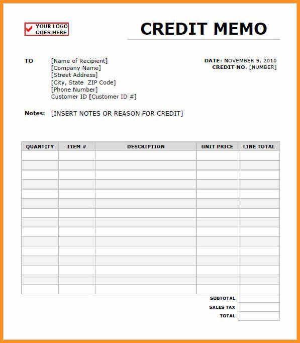 7+ Sample Of Credit Memo | Cook Resume