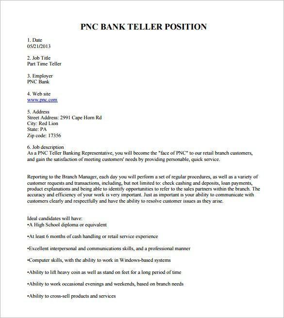 Bank Teller Job Description Template - 7+ Free Word, PDF Format ...