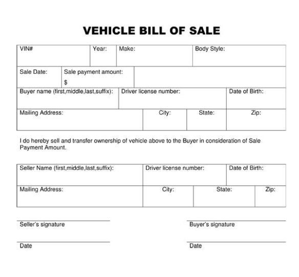 Printable Vehicle Bill of Sale Form Sample Template