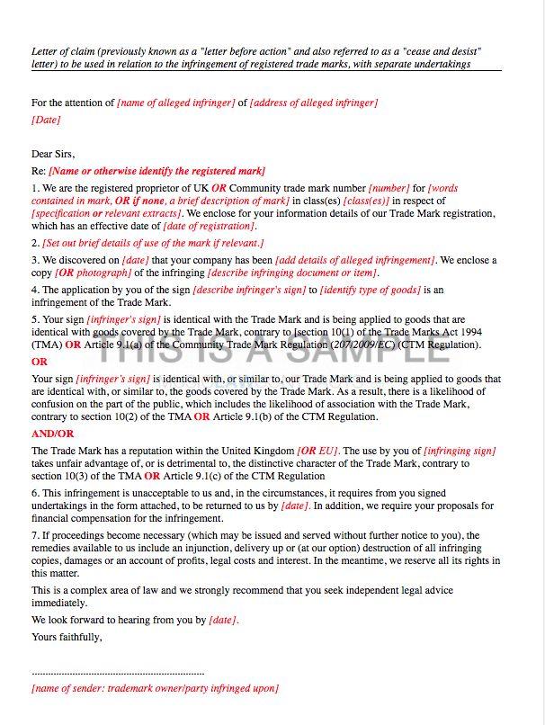 Letter of Claim Template (Trademark Infringement)