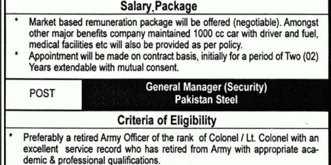 Chief Medical Officer Job in Pakistan Steel General Manager Security