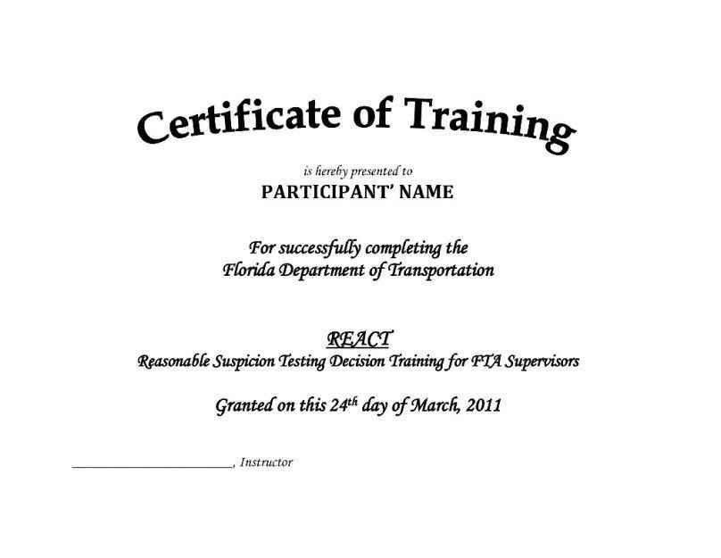 Free Training Certificate Template - Template Update234.com ...