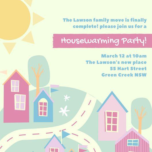 Illustrated Housewarming Invitation - Templates by Canva