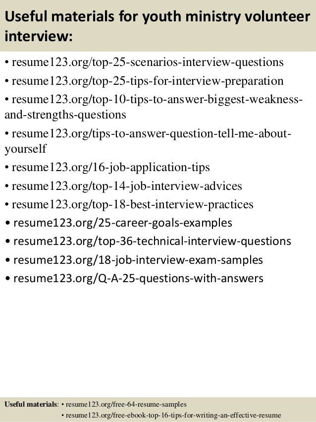 Top 8 youth ministry volunteer resume samples