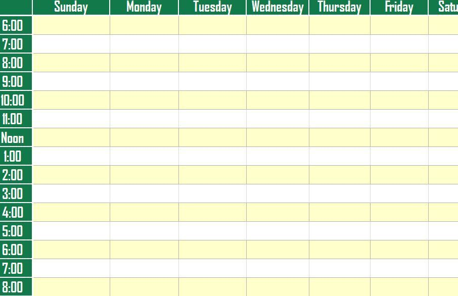 sample weekly planner template