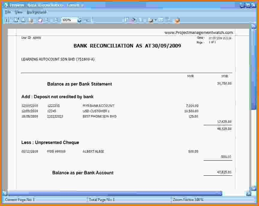 Preparation Of Bank Reconciliation Statement Checking Account ...