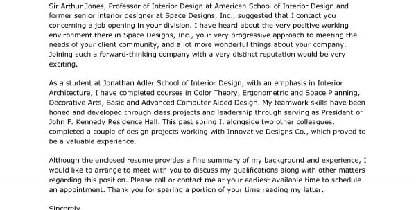 cover letter architecture