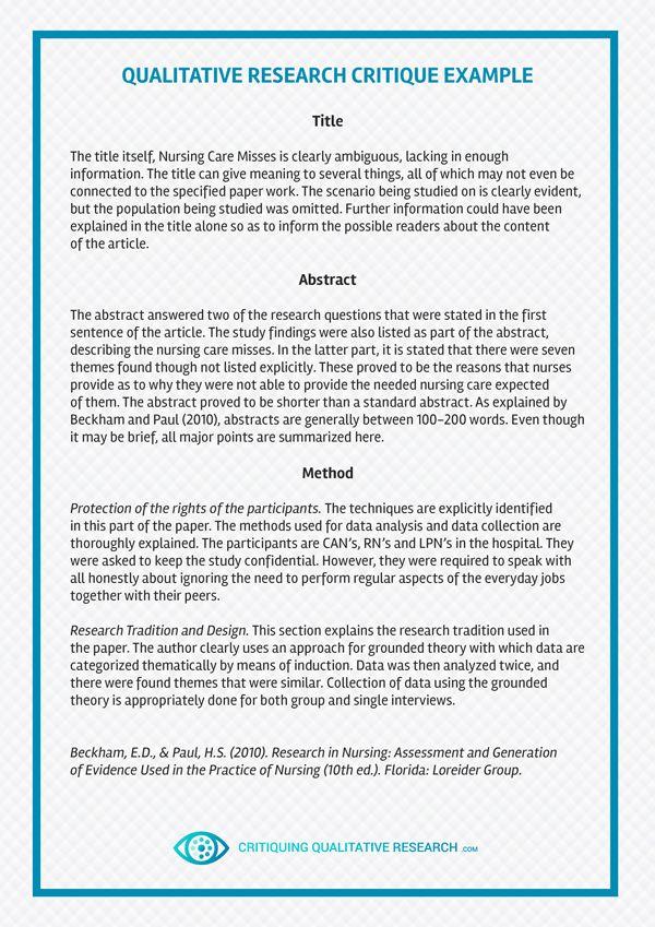 Finest Critique Paper Example | Critiquing Qualitative Research