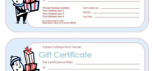 Gift Certificates – Printable Samples