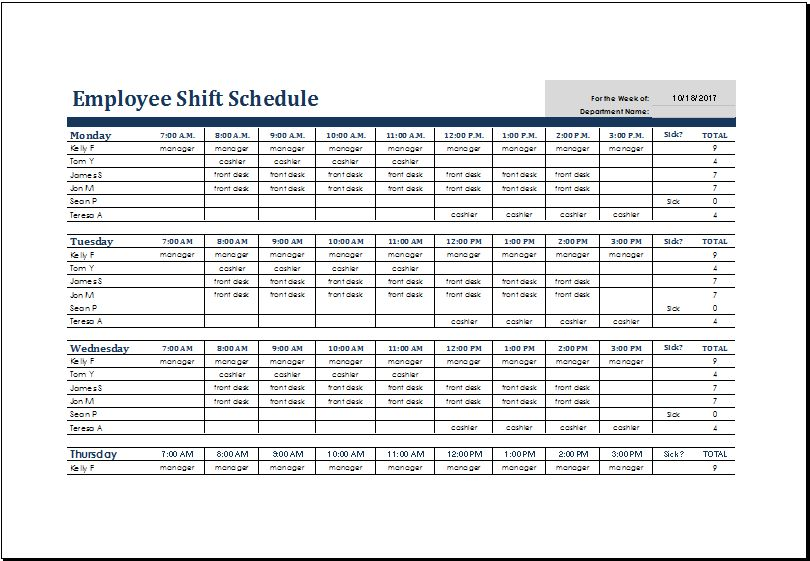 Employee Shift Schedule Template MS Excel | Excel Templates