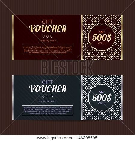 Gift voucher with luxury elegant design. Vector template for ...