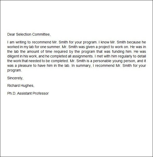 Job Recommendation Letter Sample - Writing Professional Letters