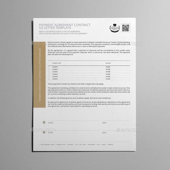 Payment Agreement Contract US Letter Template by Keboto | GraphicRiver