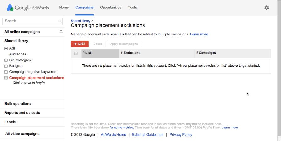 Exclude specific webpages, videos, and apps - AdWords Help