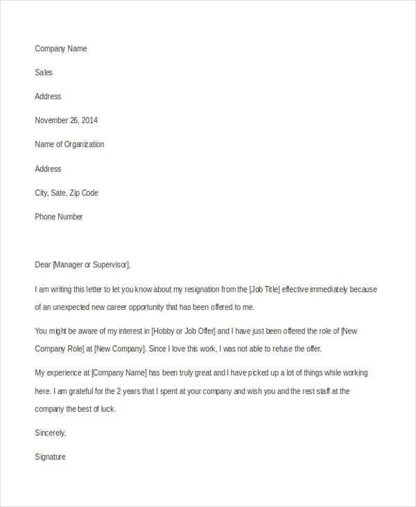 8+ New Job Resignation Letters - Free Sample, Example Format ...