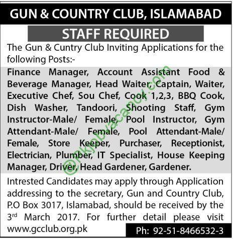 Gun & Country Club Islamabad Job 17 February 2017 - Jobs Vacancy ...
