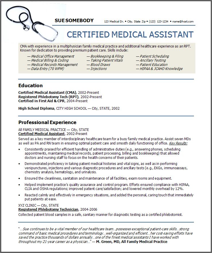 MEDICAL ASSISTANT RESUME SAMPLES | Bidproposalform.com