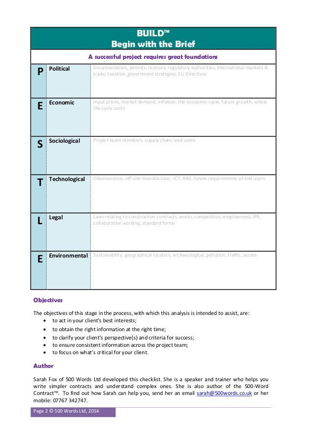 PESTLE Context Checklist for Construction Project