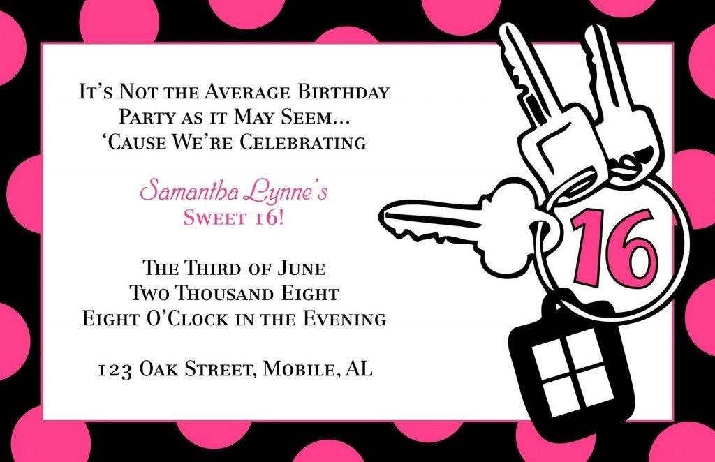16th Birthday Invitation Templatestes Sweet 16 Party Invitation ...