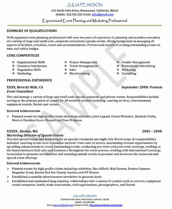 Creative Event Planner Resume Sample | RecentResumes.com