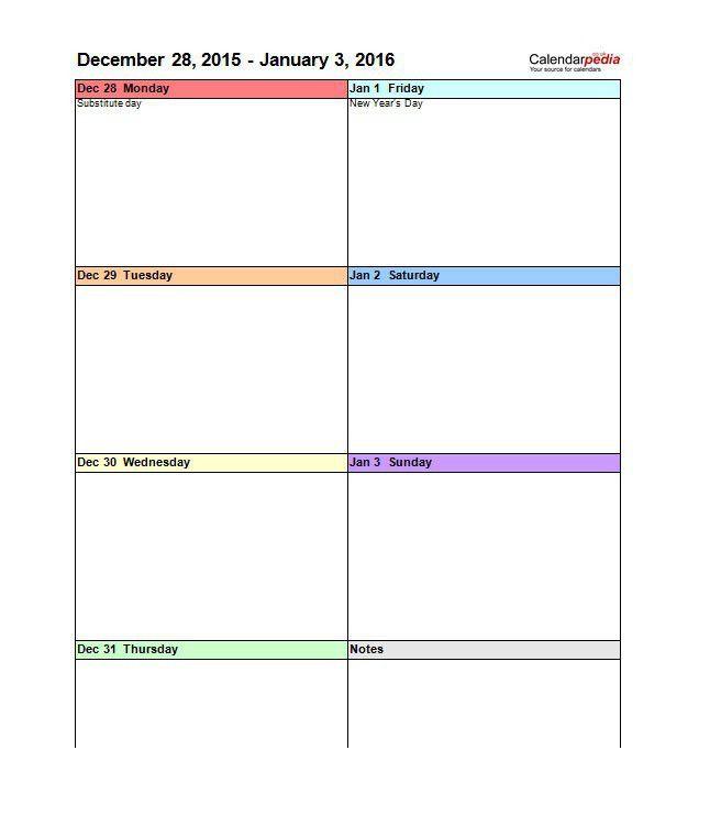 excel weekly calendar