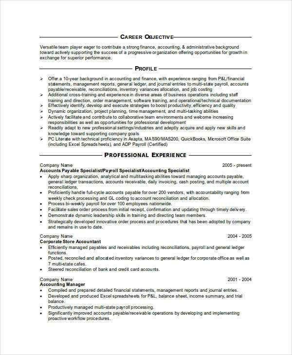31+ Accountant Resume Samples   Free & Premium Templates
