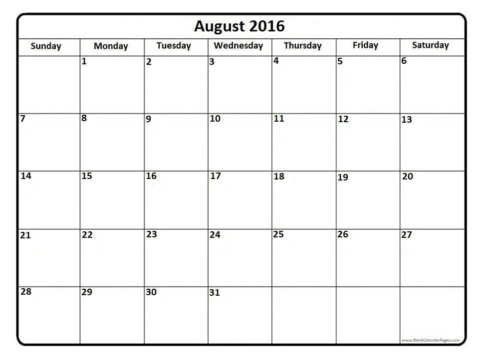 August 2016 Calendar Printable Template with Holidays PDF USA UK