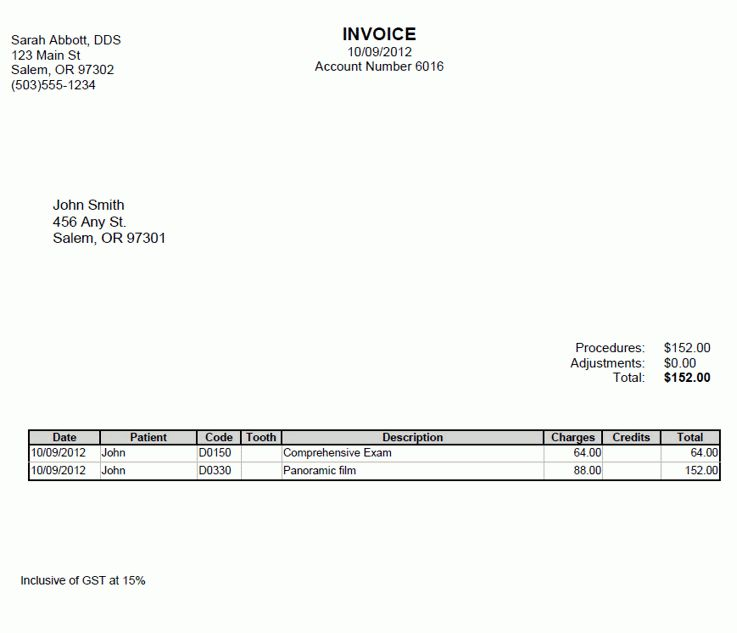 Open Dental Software Manual - Invoices