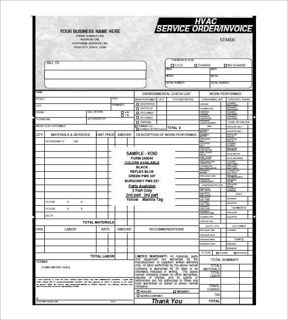 HVAC Invoice Template – 6+ Free Sample, Example, Format Download ...