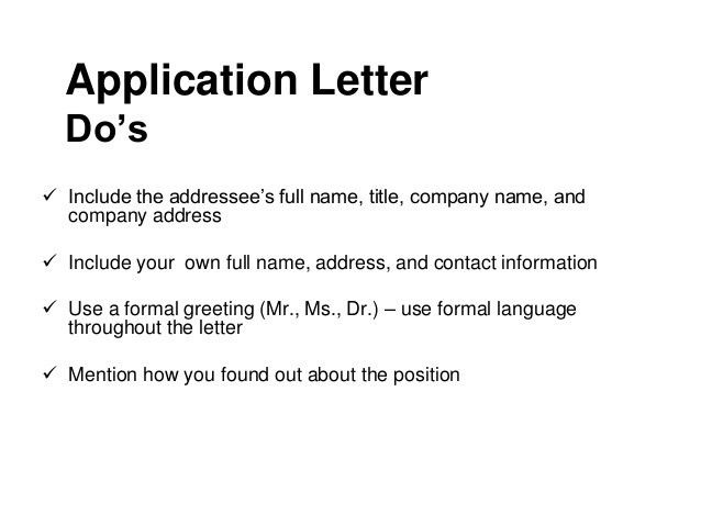 Cover letter without address and name