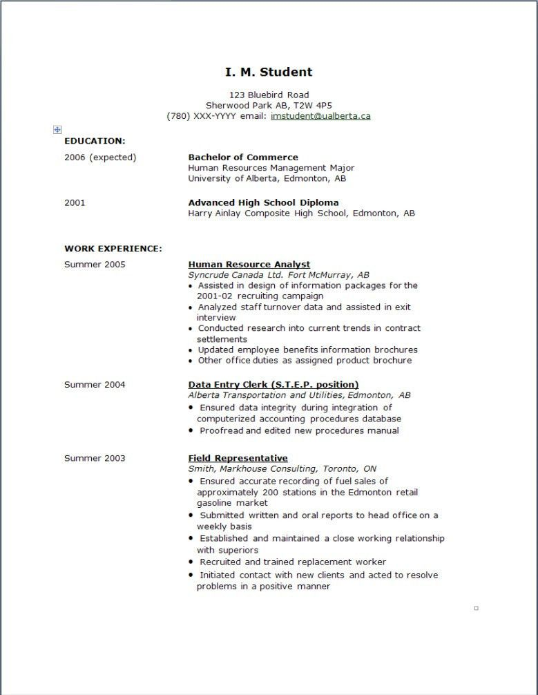 College Resume Examples For High School Seniors