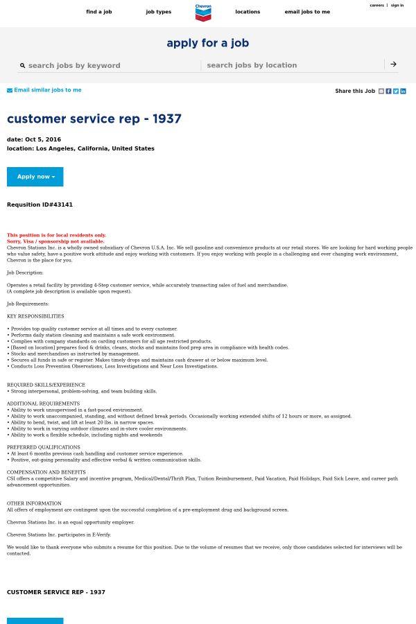 Customer Service Representative job at Chevron in Los Angeles, CA ...