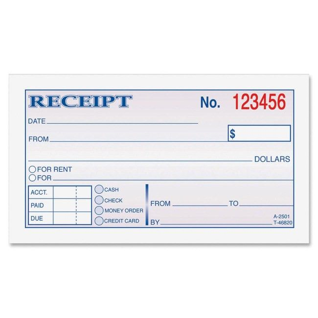 Adams DC2501 Money/rent Receipt Books 50 Sheet(s) - Tape Bound - 2 ...