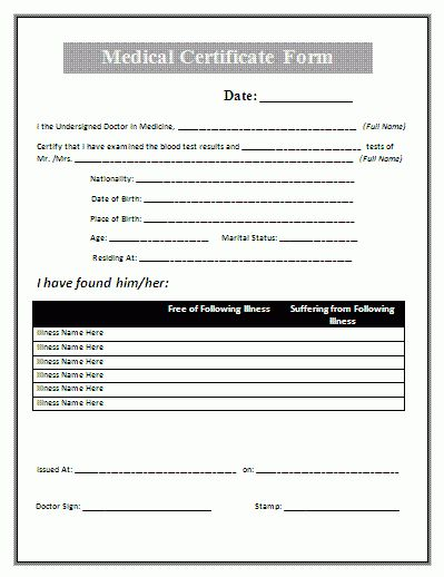 Medical Certificate Form | Free Printable Business and Legal Forms